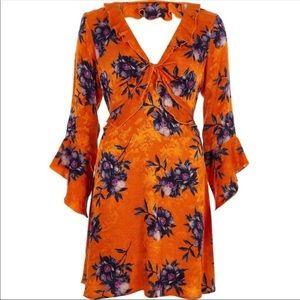 ASOS River Island orange floral bell sleeve dress
